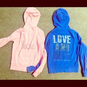 Victoria's Secret size medium zip up hoodies